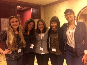 Samantha Stowers, Julia Boles, Chelsea Fesik, Samantha Lasko, and the author after their presentation.