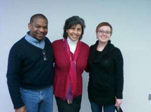 Professor Alberta Gloria, flanked by the Writing Center's John Anderson and Rachel Carrales