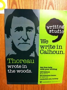 Thoreau, hanging out on my office door, instead of helping writers find our temporary location in the basement of Calhoun Hall
