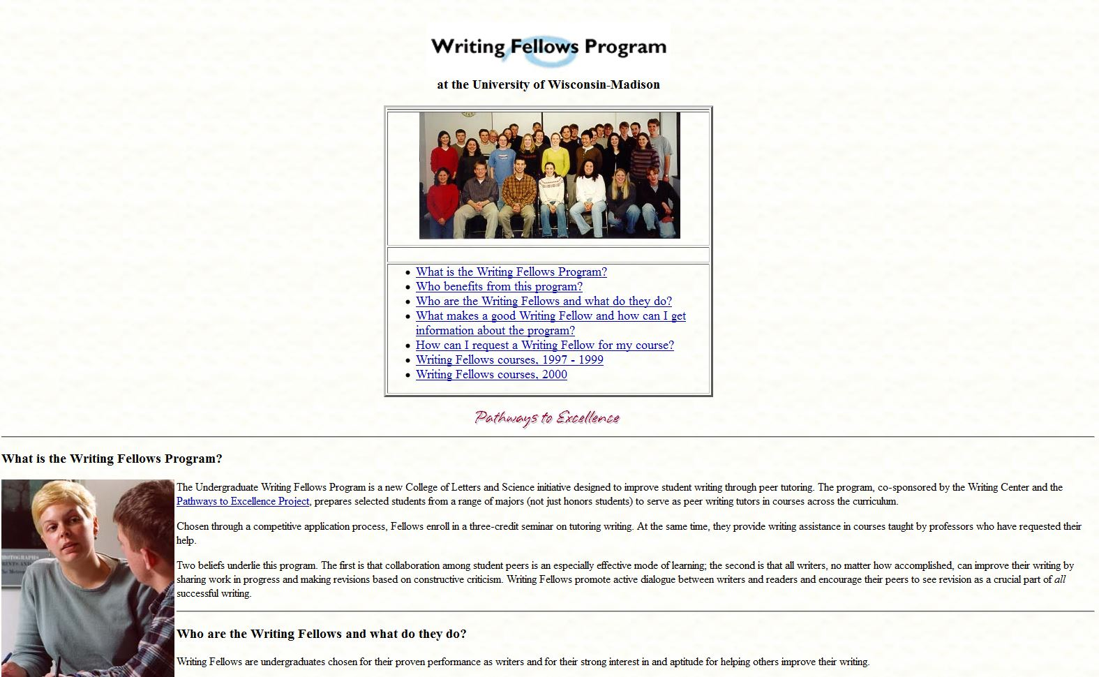 Our writing fellows website, no-frames version, 2000