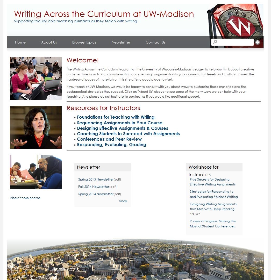 WAC Website, UW-Madison, 2015