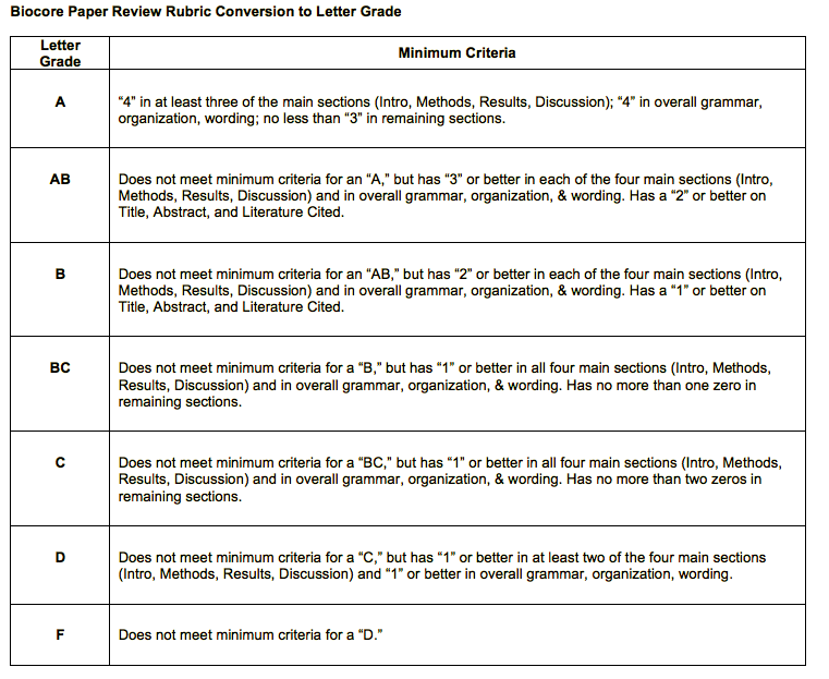 rubric with criteria for literature review